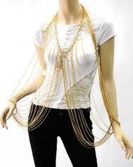 Necklace Bracelet Body Chain-Gold
