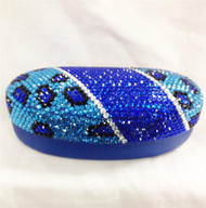 Crystal Leopard Large Eyewear Case - Blue