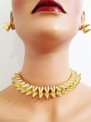 Spike Choker Necklace and Earring Set