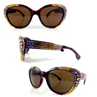 Apexed Crystal Cateye Sunglasses- AB TOPAZ