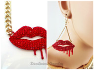Bleeding Lips Necklace and Earring Set