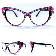 Optical CRYSTAL Cateye Glasses - Pink Ribbon