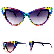 Optical CRYSTAL Cat Eye Polarized SUN Glasses - Skittles