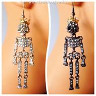 Crystal Encrusted Skeleton King Earrings