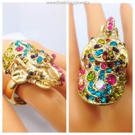 Beautiful Crystal Encrusted Multi-color Elephant Ring