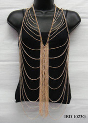 Gold Vested Body Chain with Dazzling Front Tassel