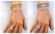 Crystal Embellished Empress Cross Bracelet and Ring Set