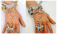 Majestic Crystal Horse Bracelet and Ring Combo