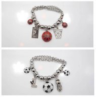 Basketball or Soccer Charmed and Metallic Beaded Bracelet