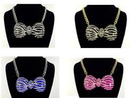 Zebra Rhinestone Bow Necklace