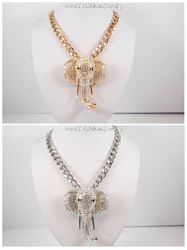 Grand Elephant with Defiant Tusks Necklace
