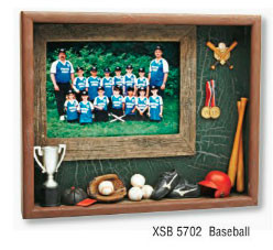Baseball Shadow Box features 5x7 print. Ready to hang!