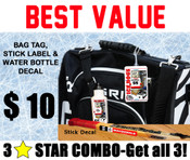 Get the best value tournament combo and get a custom bag tag, stick label and water bottle decal for only $ 10!