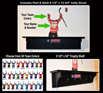 This universal shelving unit is available for a variety of sports with our custom Celly Decal, including Hockey, Baseball, Soccer, Football, Basketball, Lacrosse, Ringette & more!