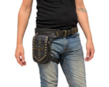 Leather Leg Holster Utility Belt Thigh Bag Black