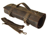 Leather Knife Roll Chefs Bag Hunter Leather - Bedouin X - Silver Buckle
