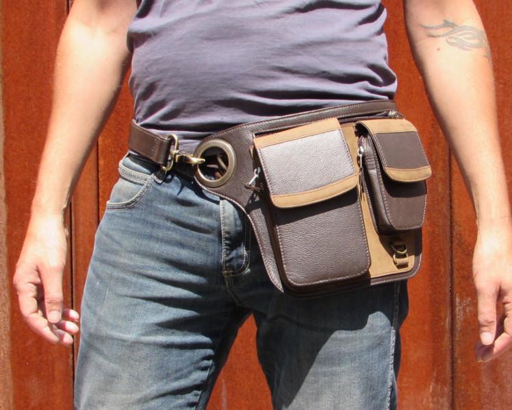 856e8ae2930c Brown Leather Hip Belt Pouch Shoulder Bag - Radisham