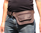 Leather Travel Belt Waist Pack in Brown