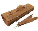 Leather Knife Roll Chefs Bag Hunter Leather - Khampa - Brass Buckle
