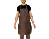 Professional Leather Utility Apron. Full Grain Leather. Tradesman Work Apron (Brass)