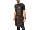 Professional Leather Utility Apron. Full Grain Leather. Tradesman Work Apron (Silver Colour Rivets)
