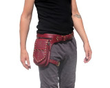 Red Leather Leg Holster Utility Belt Thigh Bag