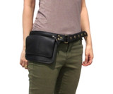 Leather Hip Bag Waist Pack Travel Belt in Black ZP8