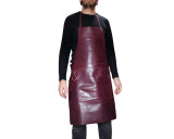 Professional Leather Work Apron Chefs Butchers Metalworkers Carpenters - Tirel Deluxe - Burgundy Red