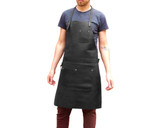 Leather Utility Work Apron for Chefs Butchers Metalworkers Carpenters - Tirel Deluxe - Silver Hardware