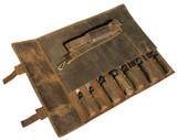 Professional Leather Chef Bag Knife Roll - Bedouin X - Medium Brown