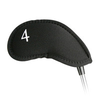 no logo contour iron headcover, head cover, neoprene, black