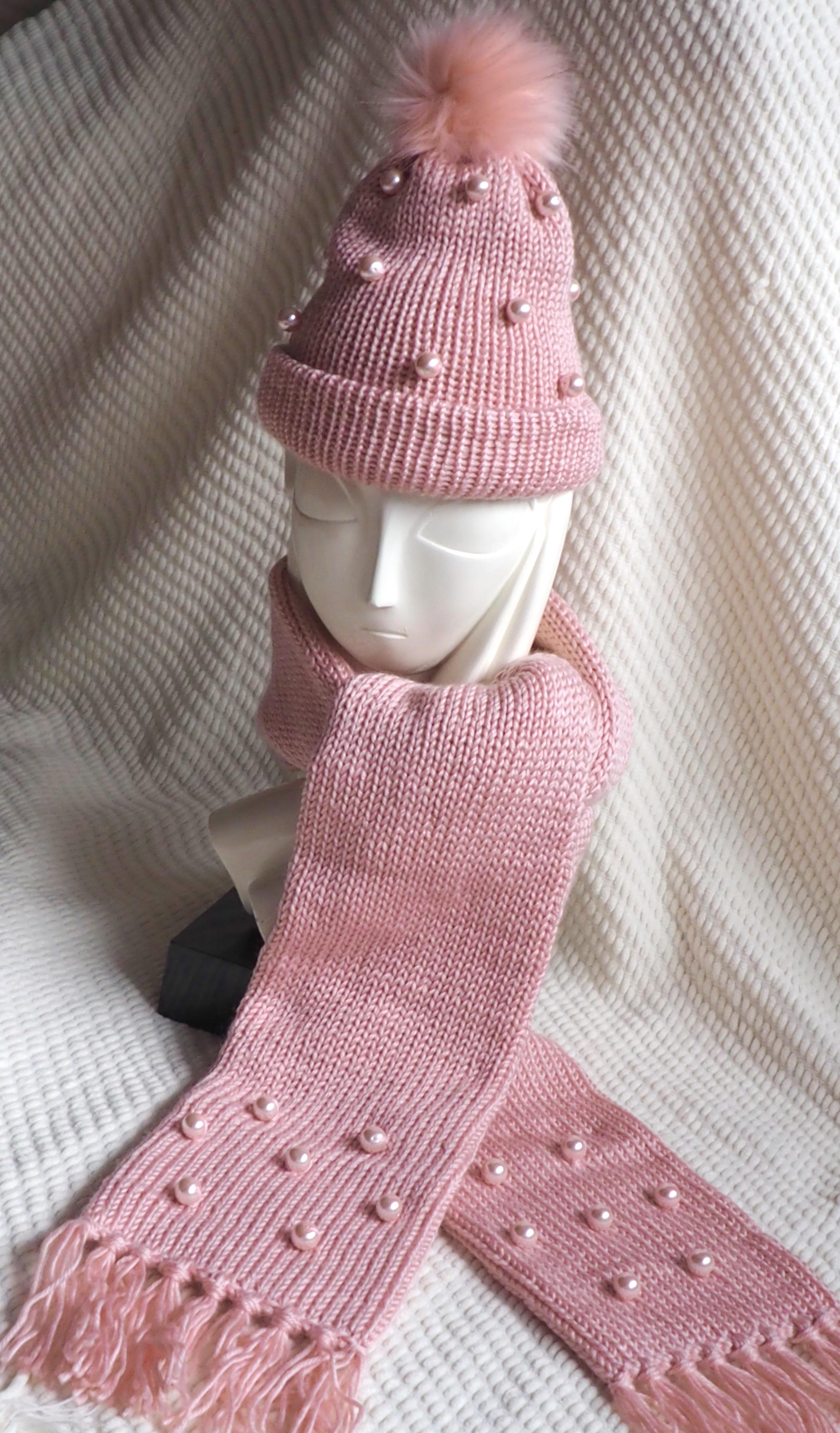 pink beanie & scarf