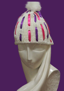 Cream Ribbon Beanie