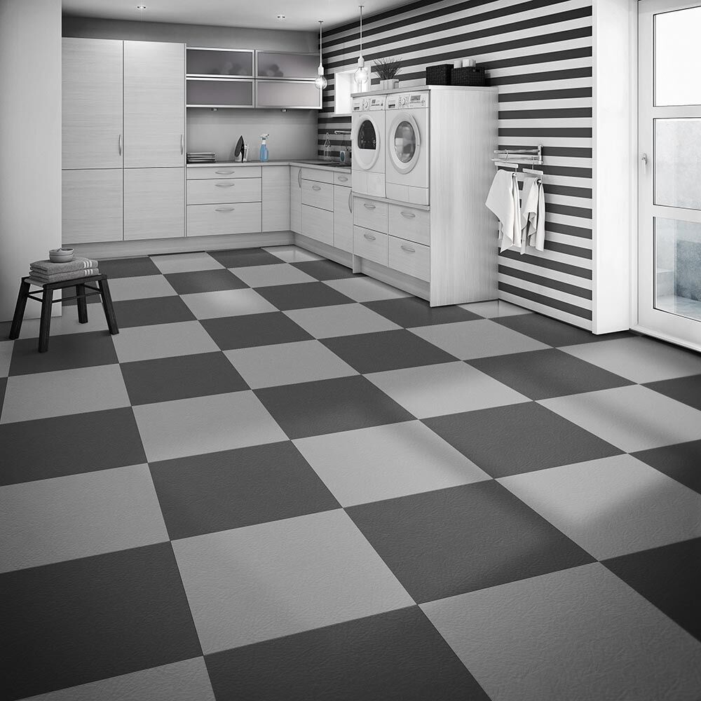 Perfection floor tile leather look pattern flexible interlocking perfection floor leather look black dark grey rhio dailygadgetfo Choice Image