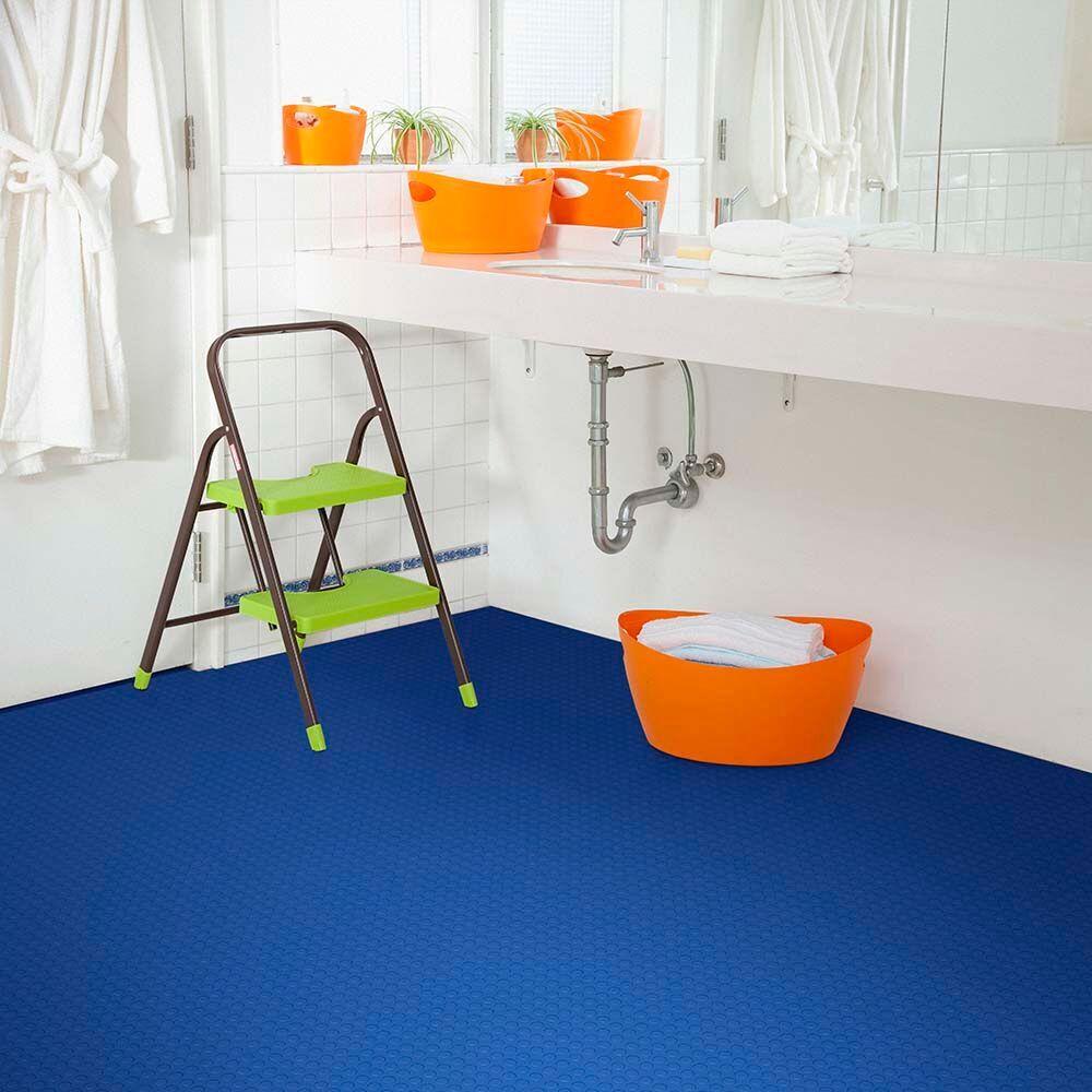 Perfection Floor Tile Coin Blue Bathroom ...