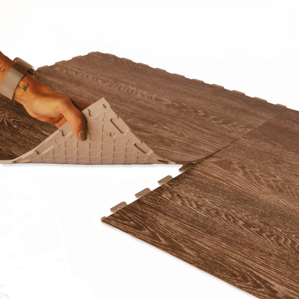 Perfection Floor Tile Flexible Interlocking Tiles, Wood Grains