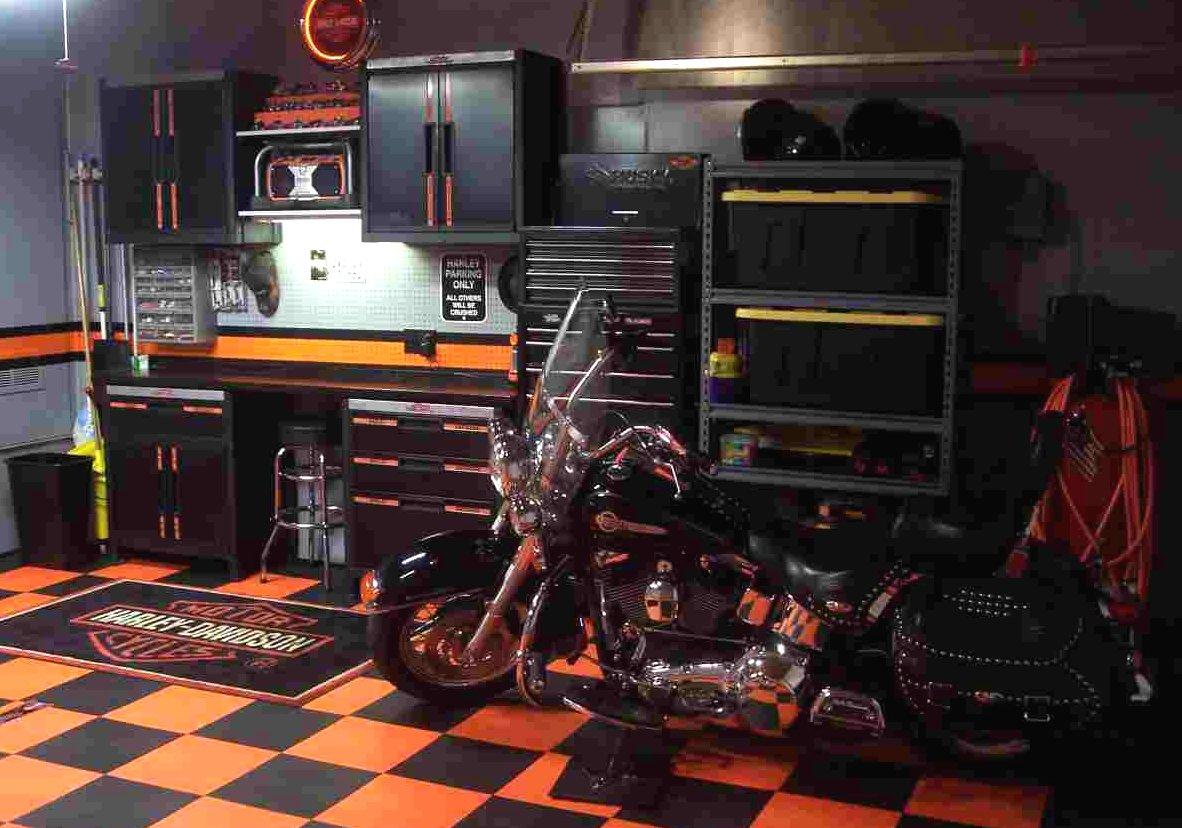 sw diamond garage orangeblackjpg - Garage Tiles