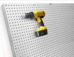 Peg Board Metal, available in Galvanized Steel, Stainless Steel and Brushed Aluminum