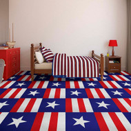 Perfection Floor Custom Print Tile -Americana used in a bedroom