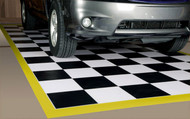 G Floor Checker Pattern Parking Mat with Yellow Boarder