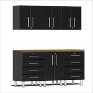 Ulti-MATE Garage 2.0 Series 7-Piece Kit with Bamboo Worktop Black