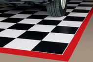G Floor Checker Pattern Parking Mat with Red Border