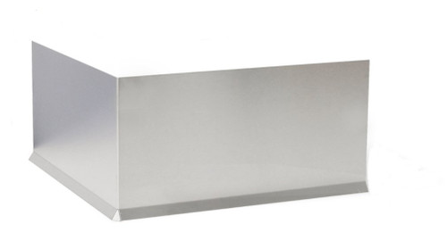 """Premolded Stainless Steel 22 GA Outside Corner with 12"""" wings, with Cove Bend"""