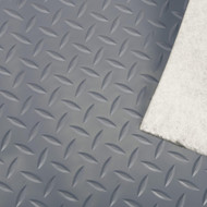Trailer Flooring with Felt Back, Diamond Pattern Grey Vinyl
