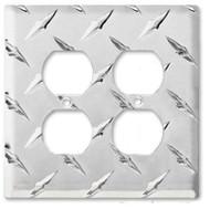 Diamond Plate Aluminum Double Outlet