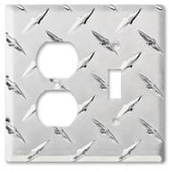Aluminum Diamond Plate Single Outlet and Toggle Aluminum