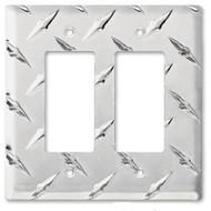 Diamond Plate Aluminum Double GFI Outlet Cover