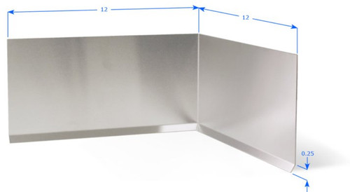 """Stainless Steel 16 GA Premolding Inside Corner with 12"""" Wings, Cove Bend"""