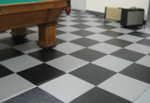 Perfection Floor Tile HomeStyle Slate, flexible interlocking tiles.  Game room flooring.