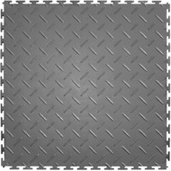 Perfection Floor Tile Diamond Plate Pattern, flexible interlocking tiles.  Dark grey.